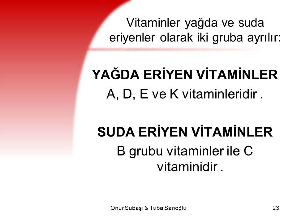 Onur Subaşı & Tuba Sarıoğlu23 Vitaminler yağda ve suda eriyenler olarak iki gruba ayrılır: YAĞDA ERİYEN VİTAMİNLER A, D, E ve K vitaminleridir. SUDA E