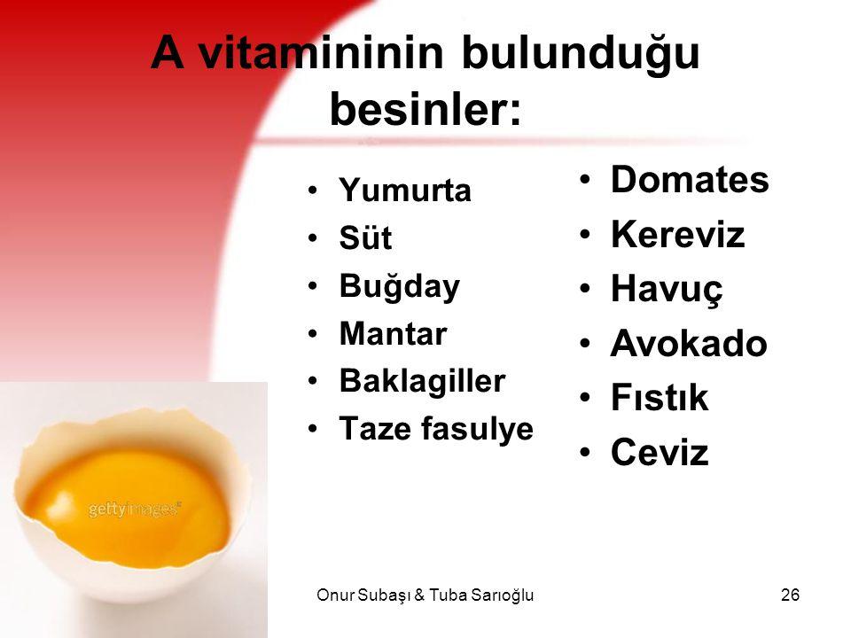 Onur Subaşı & Tuba Sarıoğlu26 A vitamininin bulunduğu besinler: Yumurta Süt Buğday Mantar Baklagiller Taze fasulye Domates Kereviz Havuç Avokado Fıstı