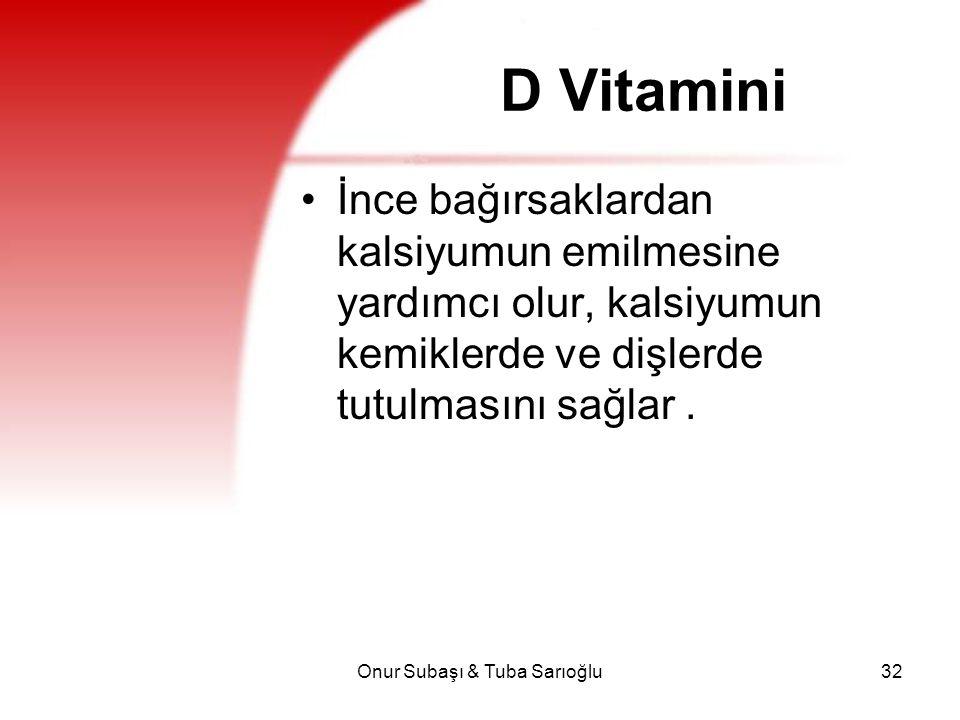 Onur Subaşı & Tuba Sarıoğlu32 D Vitamini İnce bağırsaklardan kalsiyumun emilmesine yardımcı olur, kalsiyumun kemiklerde ve dişlerde tutulmasını sağlar