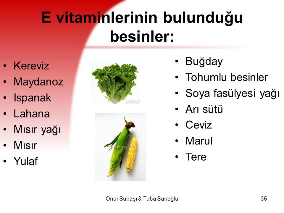 Onur Subaşı & Tuba Sarıoğlu35 E vitaminlerinin bulunduğu besinler: Kereviz Maydanoz Ispanak Lahana Mısır yağı Mısır Yulaf Buğday Tohumlu besinler Soya