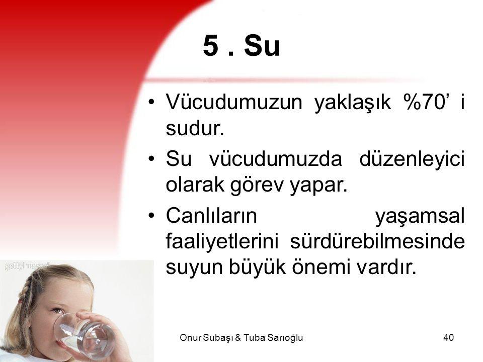 Onur Subaşı & Tuba Sarıoğlu40 5. Su Vücudumuzun yaklaşık %70' i sudur. Su vücudumuzda düzenleyici olarak görev yapar. Canlıların yaşamsal faaliyetleri