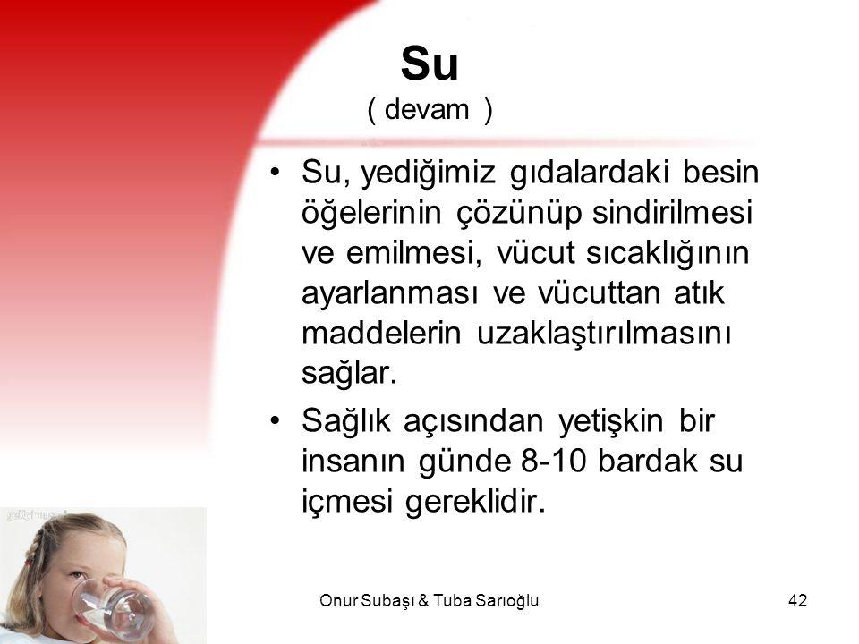 Onur Subaşı & Tuba Sarıoğlu42 Su ( devam ) Su, yediğimiz gıdalardaki besin öğelerinin çözünüp sindirilmesi ve emilmesi, vücut sıcaklığının ayarlanması