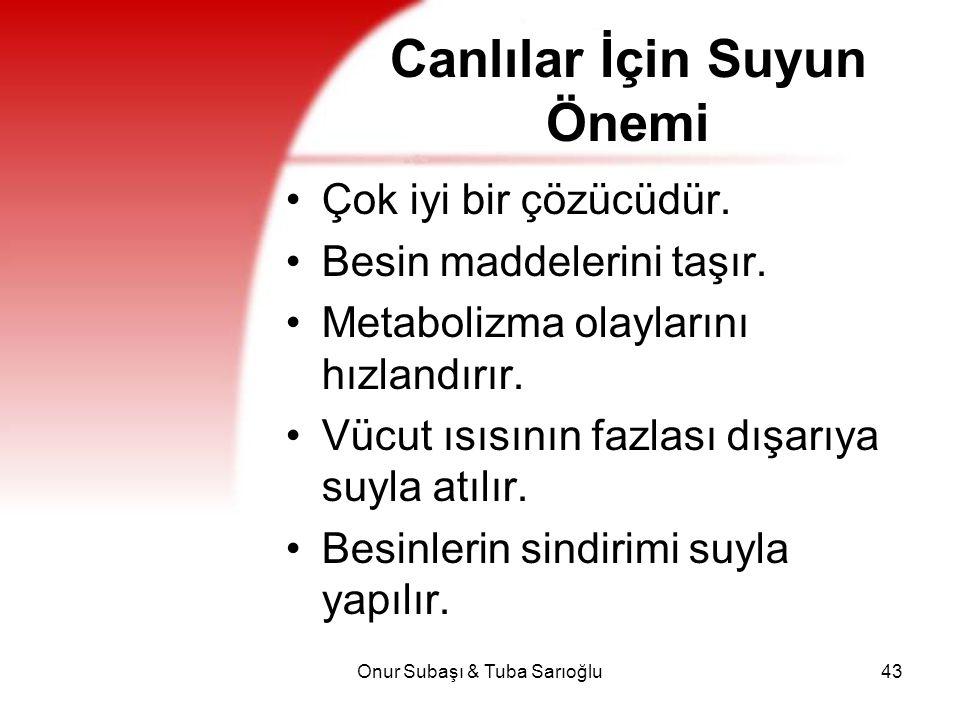 Onur Subaşı & Tuba Sarıoğlu43 Canlılar İçin Suyun Önemi Çok iyi bir çözücüdür. Besin maddelerini taşır. Metabolizma olaylarını hızlandırır. Vücut ısıs