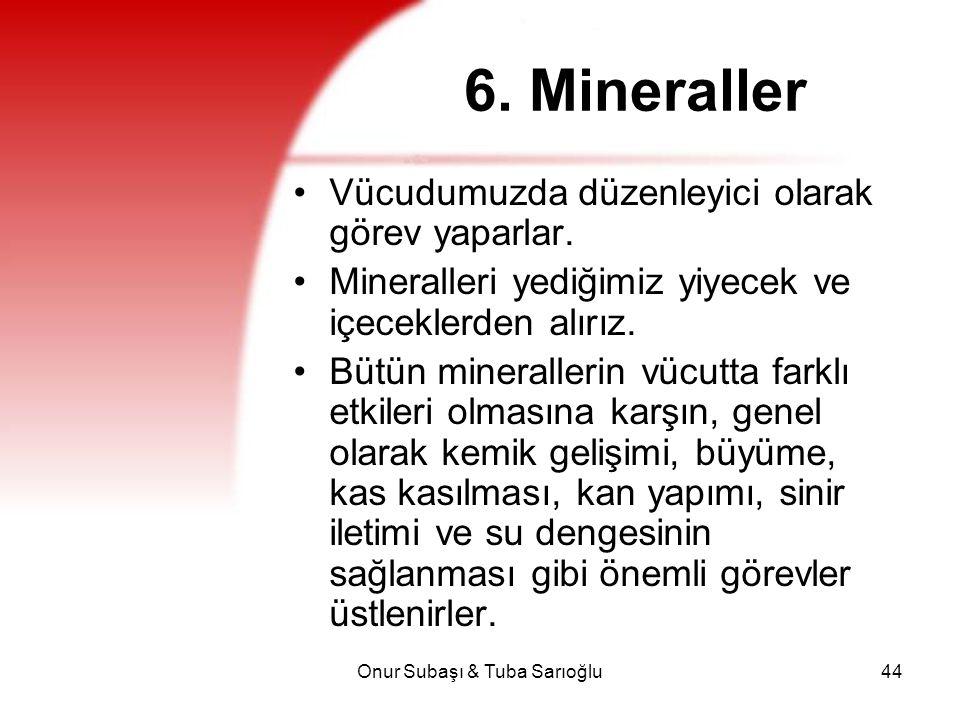 Onur Subaşı & Tuba Sarıoğlu44 6. Mineraller Vücudumuzda düzenleyici olarak görev yaparlar. Mineralleri yediğimiz yiyecek ve içeceklerden alırız. Bütün