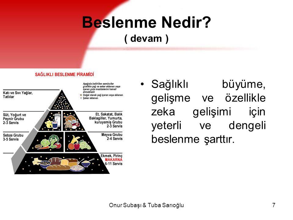 Onur Subaşı & Tuba Sarıoğlu7 Beslenme Nedir? ( devam ) Sağlıklı büyüme, gelişme ve özellikle zeka gelişimi için yeterli ve dengeli beslenme şarttır.