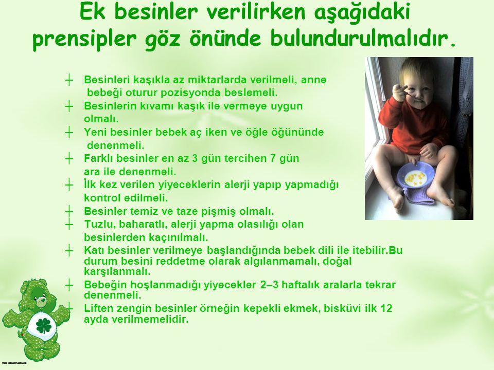 Ek besinler verilirken aşağıdaki prensipler göz önünde bulundurulmalıdır. ┼Besinleri kaşıkla az miktarlarda verilmeli, anne bebeği oturur pozisyonda b