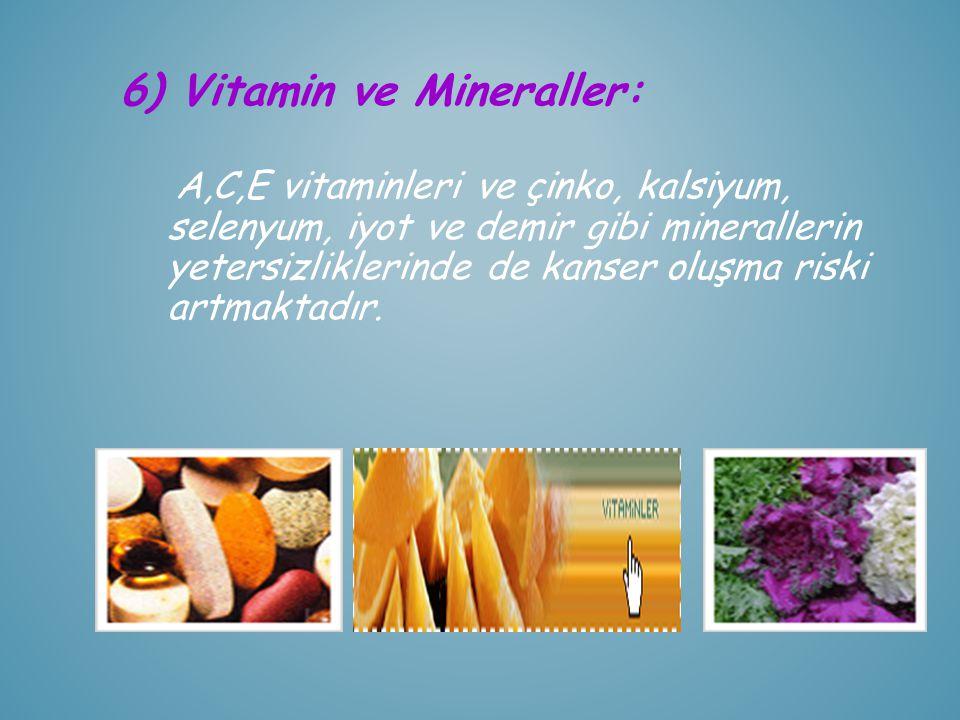 6) Vitamin ve Mineraller: A,C,E vitaminleri ve çinko, kalsiyum, selenyum, iyot ve demir gibi minerallerin yetersizliklerinde de kanser oluşma riski ar
