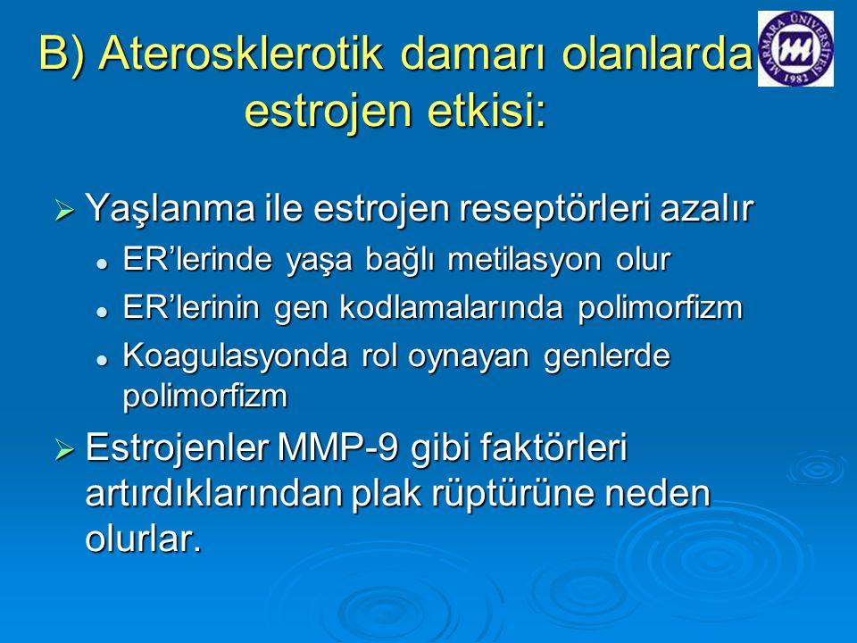 B) Aterosklerotik damarı olanlarda estrojen etkisi:  Yaşlanma ile estrojen reseptörleri azalır ER'lerinde yaşa bağlı metilasyon olur ER'lerinde yaşa