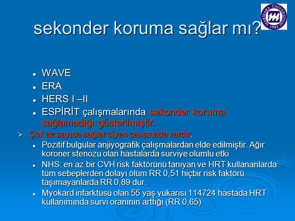 sekonder koruma sağlar mı? WAVE WAVE ERA ERA HERS I –II HERS I –II ESPİRİT çalışmalarında sekonder koruma sağlamadığı gösterilmiştir. ESPİRİT çalışmal
