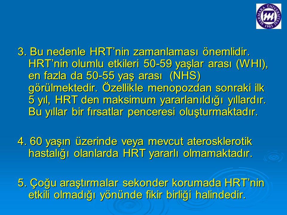 3. Bu nedenle HRT'nin zamanlaması önemlidir. HRT'nin olumlu etkileri 50-59 yaşlar arası (WHI), en fazla da 50-55 yaş arası (NHS) görülmektedir. Özelli