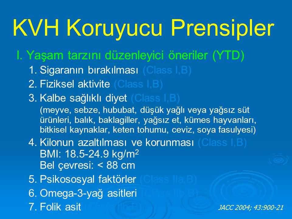 I. Yaşam tarzını düzenleyici öneriler (YTD) 1.Sigaranın bırakılması (Class I,B) 2.Fiziksel aktivite (Class I,B) 3.Kalbe sağlıklı diyet (Class I,B) (me