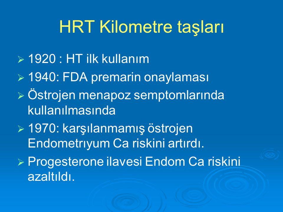 HRT Kilometre taşları   1920 : HT ilk kullanım   1940: FDA premarin onaylaması   Östrojen menapoz semptomlarında kullanılmasında   1970: karşı