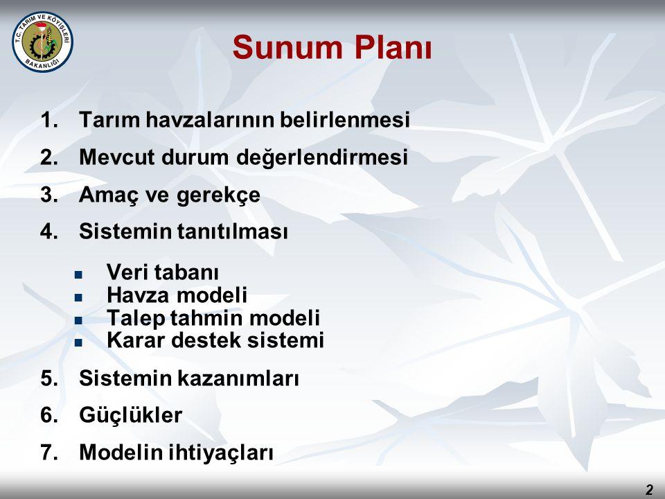 3 Türkiye Tarım Havzaları Üretim ve Destekleme Modeli Tarım Havzaları Ekolojik olarak benzer olan Ülke'nin idari yapılanmasına uygun Yönetilebilir büyüklükte Tarım ürünlerinin ekolojik ve ekonomik olarak en uygun yetiştirilebildiği bölgeleri ifade eder Bu çalışma Kurumsal hafızanın oluşturulduğu Bilgisayar teknolojilerinin kullanıldığı Dinamik ve geliştirilebilir bir model uygulamasıdır