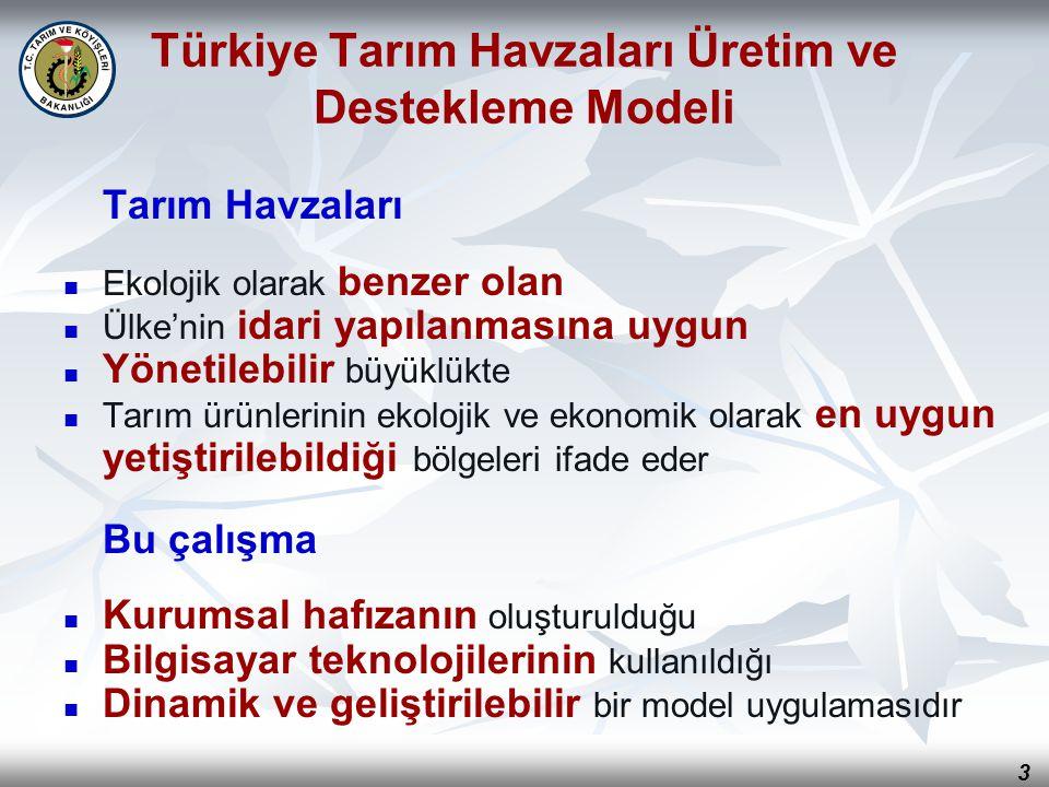 3 Türkiye Tarım Havzaları Üretim ve Destekleme Modeli Tarım Havzaları Ekolojik olarak benzer olan Ülke'nin idari yapılanmasına uygun Yönetilebilir büy