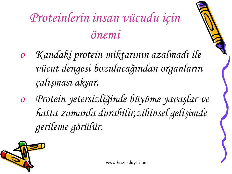 www.hazirslayt.com Proteinlerin insan vücudu için önemi oKandaki protein miktarının azalmadı ile vücut dengesi bozulacağından organların çalışması aks