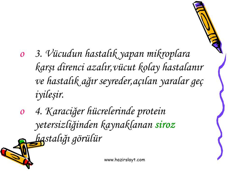 www.hazirslayt.com o3. Vücudun hastalık yapan mikroplara karşı direnci azalır,vücut kolay hastalanır ve hastalık ağır seyreder,açılan yaralar geç iyil