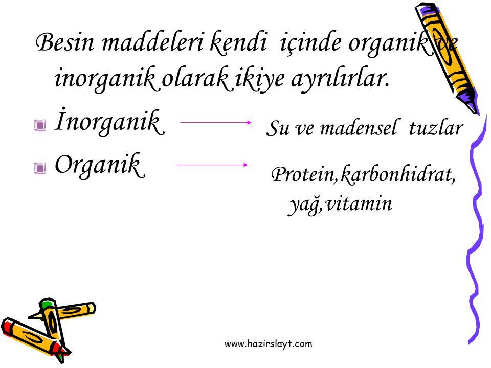 www.hazirslayt.com Besin maddeleri kendi içinde organik ve inorganik olarak ikiye ayrılırlar. İnorganik Organik Su ve madensel tuzlar Protein,karbonhi