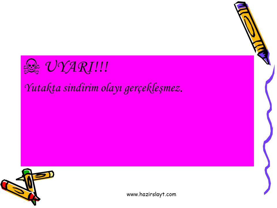 www.hazirslayt.com UYARI!!! Yutakta sindirim olayı gerçekleşmez.