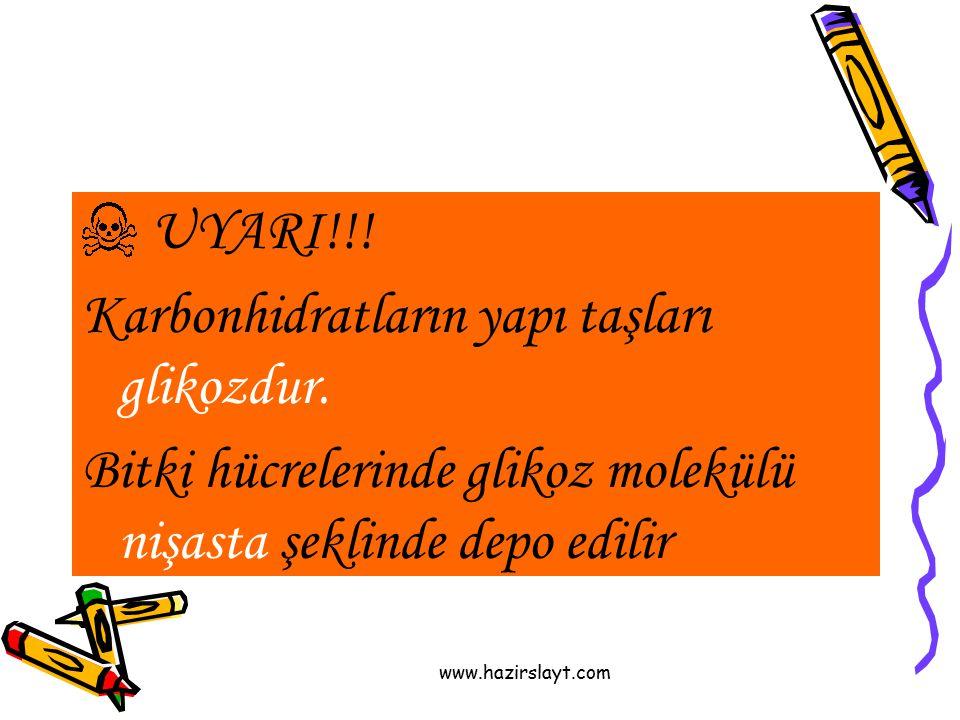 www.hazirslayt.com UYARI!!! Karbonhidratların yapı taşları glikozdur. Bitki hücrelerinde glikoz molekülü nişasta şeklinde depo edilir