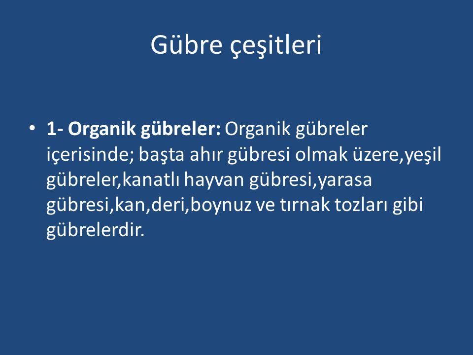 Organik Gübreler Ahır Gübresi: Ahır hayvanlarının katı dışkıları ve yataklıklarını artıklarından oluşan karışıma ahır gübresi denir.
