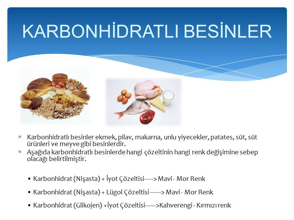 KARBONHİDRATLI BESİNLER  Karbonhidratlı besinler ekmek, pilav, makarna, unlu yiyecekler, patates, süt, süt ürünleri ve meyve gibi besinlerdir.