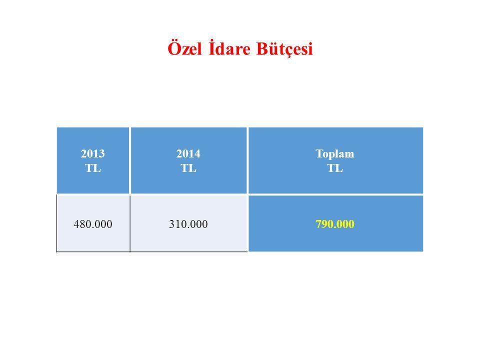 Özel İdare Bütçesi 2013 TL 2014 TL Toplam TL 480.000310.000790.000