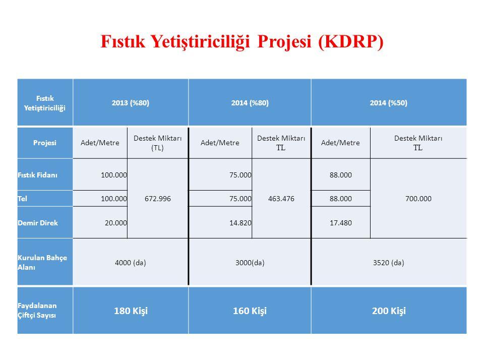 Fıstık Yetiştiriciliği Projesi (KDRP) Fıstık Yetiştiriciliği 2013 (%80)2014 (%80)2014 (%50) ProjesiAdet/Metre Destek Miktarı (TL) Adet/Metre Destek Miktarı TL Adet/Metre Destek Miktarı TL Fıstık Fidanı100.000 672.996 75.000 463.476 88.000 700.000 Tel100.00075.00088.000 Demir Direk20.00014.82017.480 Kurulan Bahçe Alanı 4000 (da)3000(da)3520 (da) Faydalanan Çiftçi Sayısı 180 Kişi160 Kişi200 Kişi
