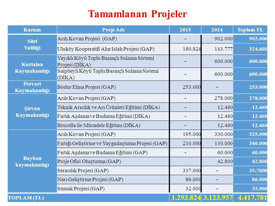 Tamamlanan Projeler KurumProje Adı20132014Toplam TL Siirt Valiliği Arılı Kovan Projesi (GAP)-902.000 Uluköy Kooperatifi Ahır Islah Projesi (GAP)180.824143.777324.601 Kurtalan Kaymakamlığı Yayıklı Köyü Toplu Basınçlı Sulama Sistemi Projesi (DİKA) -600.000 Saipbeyli Köyü Toplu Basınçlı Sulama Sistemi (DİKA) -600.000 Pervari Kaymakamlığı Bodur Elma Projesi (GAP)253.000- Şirvan Kaymakanlığı Arılı Kovan Projesi (GAP)-278.000 Teknik Arıcılık ve Arı Ürünleri Eğitimi (DİKA)-12.460 Fıstık Aşılama ve Budama Eğitimi (DİKA)-12.460 Brucella ile Mücadele Eğitimi (DİKA)-12.460 Baykan kaymakamlığı Arılı Kovan Projesi (GAP)195.000330.000525.000 Fıstığı Geliştirme ve Yaygınlaştırma Projesi (GAP)210.000130.000340.000 Fıstık Aşılama ve Budama Eğitimi (GAP)-60.000 Proje Ofisi Oluşturma (GAP) 42.800 Seracılık Projesi (GAP)337.000-33.7000 Narı Geliştirme Projesi (GAP)86.000- Sumak Projesi (GAP)32.000- TOPLAM (TL) 1.293.8243.123.9574.417.781