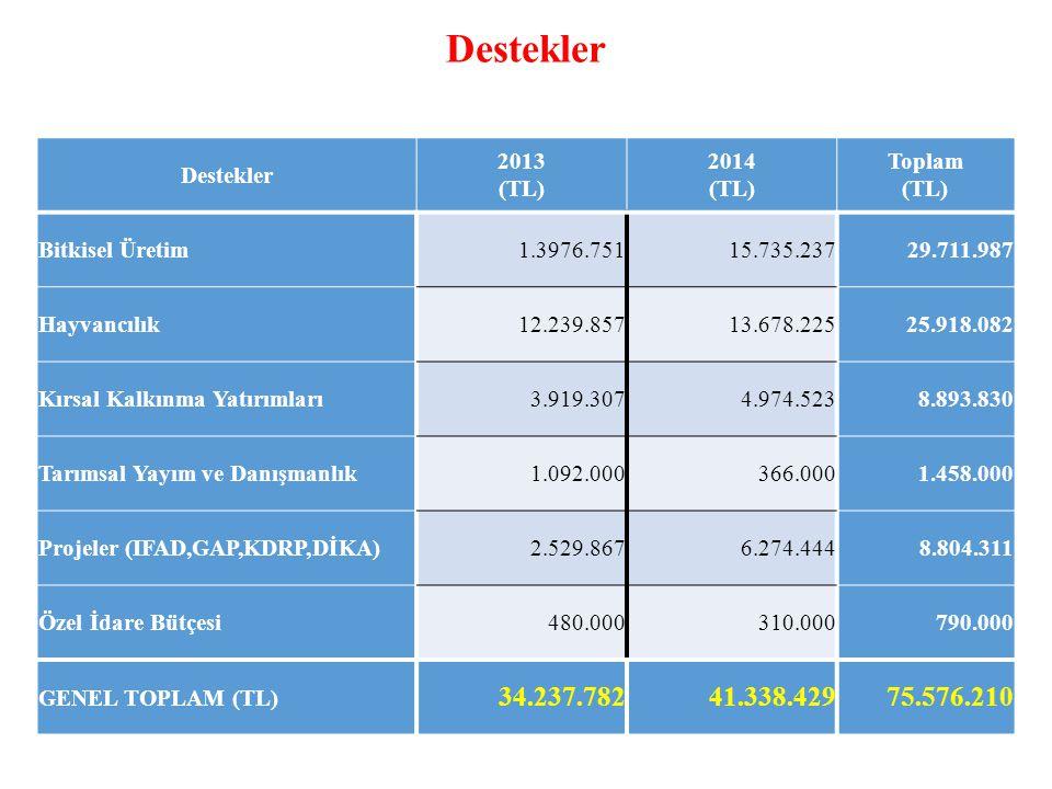 Destekler 2013 (TL) 2014 (TL) Toplam (TL) Bitkisel Üretim1.3976.75115.735.23729.711.987 Hayvancılık12.239.85713.678.22525.918.082 Kırsal Kalkınma Yatırımları3.919.3074.974.5238.893.830 Tarımsal Yayım ve Danışmanlık1.092.000366.0001.458.000 Projeler (IFAD,GAP,KDRP,DİKA)2.529.8676.274.4448.804.311 Özel İdare Bütçesi480.000310.000790.000 GENEL TOPLAM (TL) 34.237.78241.338.42975.576.210 Destekler