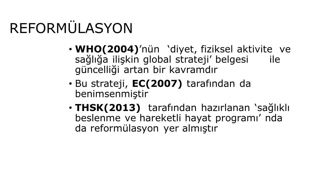 REFORMÜLASYON WHO(2004)'nün 'diyet, fiziksel aktivite ve sağlığa ilişkin global strateji' belgesi ile güncelliği artan bir kavramdır Bu strateji, EC(2
