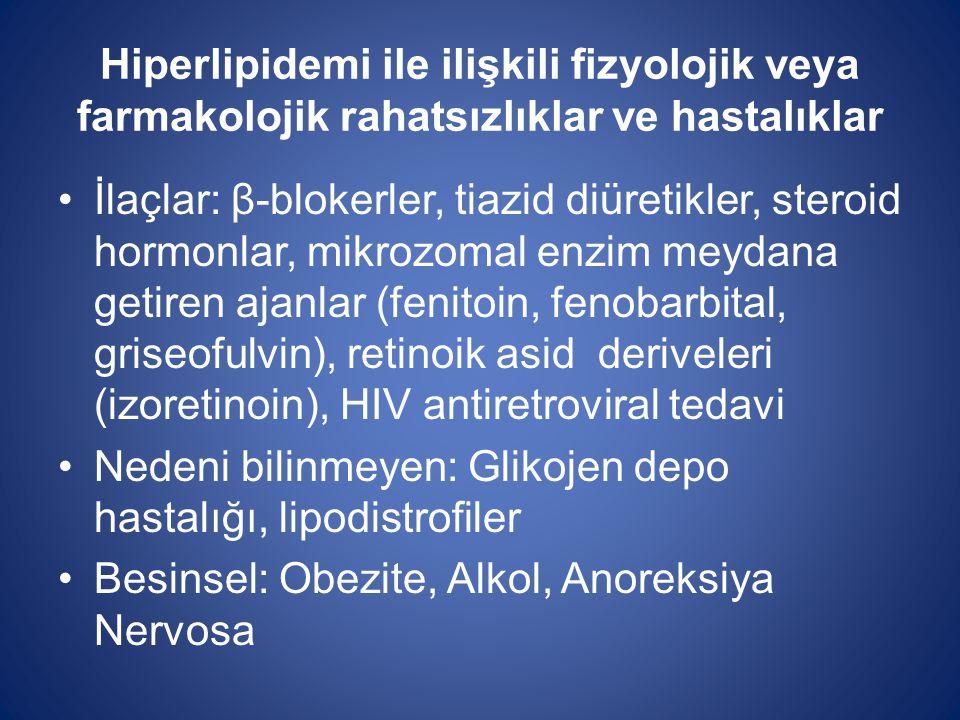 Hiperlipidemi ile ilişkili fizyolojik veya farmakolojik rahatsızlıklar ve hastalıklar İlaçlar: β-blokerler, tiazid diüretikler, steroid hormonlar, mik