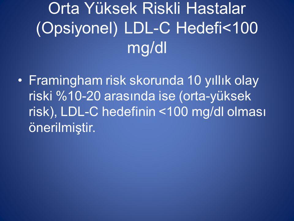 Orta Yüksek Riskli Hastalar (Opsiyonel) LDL-C Hedefi<100 mg/dl Framingham risk skorunda 10 yıllık olay riski %10-20 arasında ise (orta-yüksek risk), L