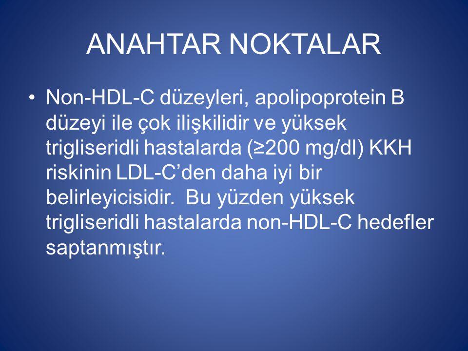 ANAHTAR NOKTALAR Non-HDL-C düzeyleri, apolipoprotein B düzeyi ile çok ilişkilidir ve yüksek trigliseridli hastalarda (≥200 mg/dl) KKH riskinin LDL-C'd