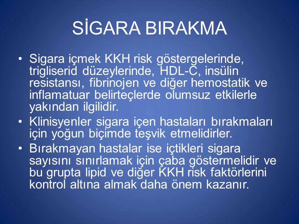 SİGARA BIRAKMA Sigara içmek KKH risk göstergelerinde, trigliserid düzeylerinde, HDL-C, insülin resistansı, fibrinojen ve diğer hemostatik ve inflamatu