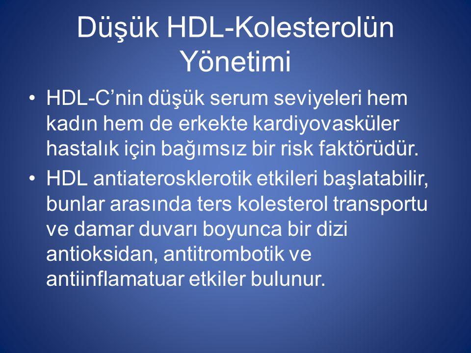 Düşük HDL-Kolesterolün Yönetimi HDL-C'nin düşük serum seviyeleri hem kadın hem de erkekte kardiyovasküler hastalık için bağımsız bir risk faktörüdür.