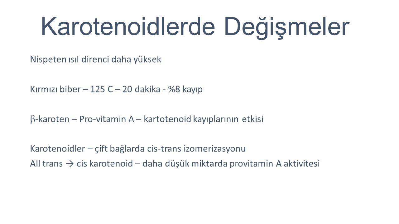 Karotenoidlerde Değişmeler Nispeten ısıl direnci daha yüksek Kırmızı biber – 125 C – 20 dakika - %8 kayıp  -karoten – Pro-vitamin A – kartotenoid kay