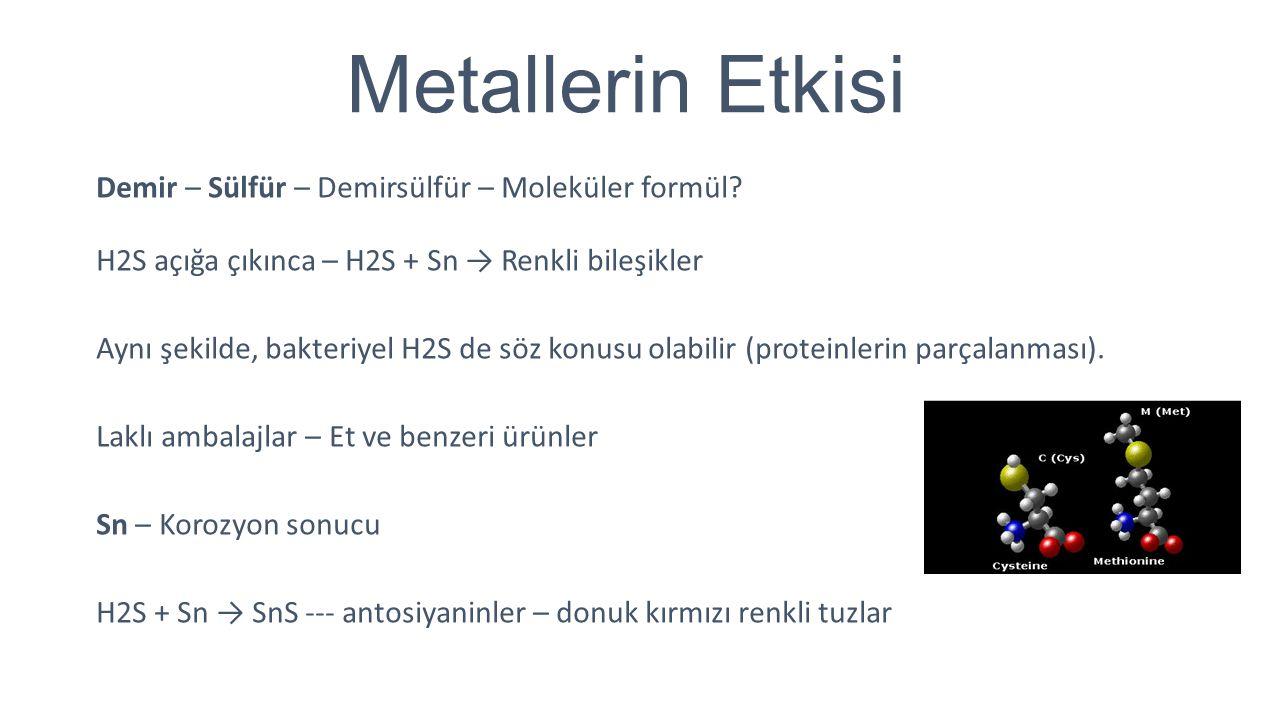 Metallerin Etkisi Demir – Sülfür – Demirsülfür – Moleküler formül? H2S açığa çıkınca – H2S + Sn → Renkli bileşikler Aynı şekilde, bakteriyel H2S de sö