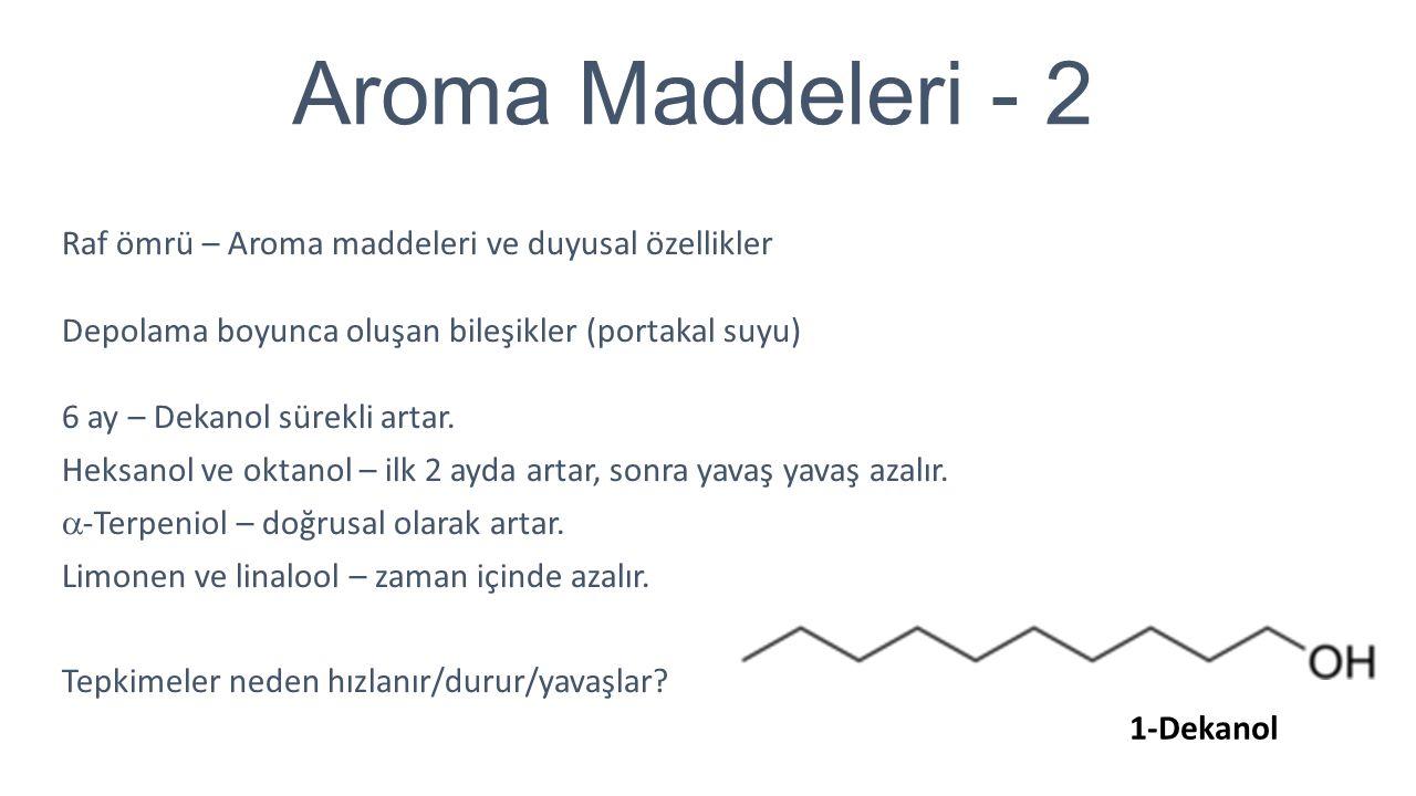 Aroma Maddeleri - 2 Raf ömrü – Aroma maddeleri ve duyusal özellikler Depolama boyunca oluşan bileşikler (portakal suyu) 6 ay – Dekanol sürekli artar.