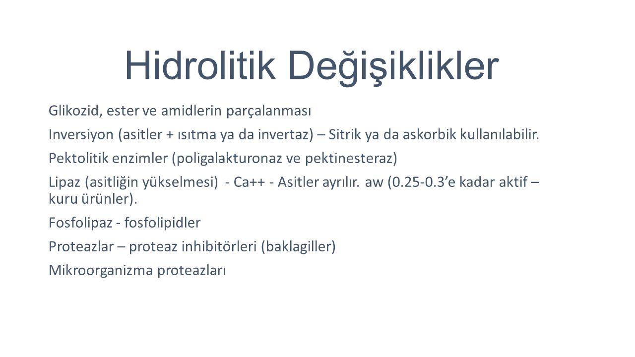 Hidrolitik Değişiklikler Glikozid, ester ve amidlerin parçalanması Inversiyon (asitler + ısıtma ya da invertaz) – Sitrik ya da askorbik kullanılabilir