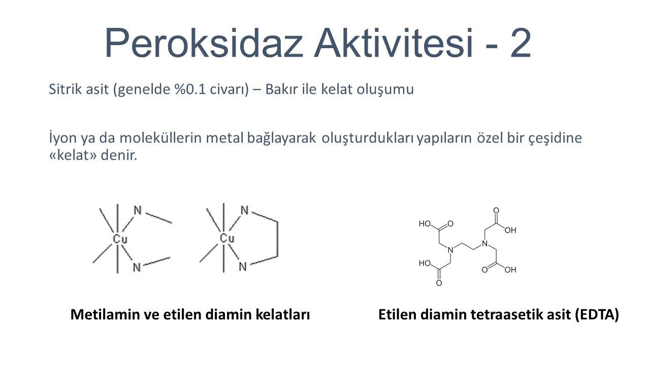 Peroksidaz Aktivitesi - 2 Sitrik asit (genelde %0.1 civarı) – Bakır ile kelat oluşumu İyon ya da moleküllerin metal bağlayarak oluşturdukları yapıları
