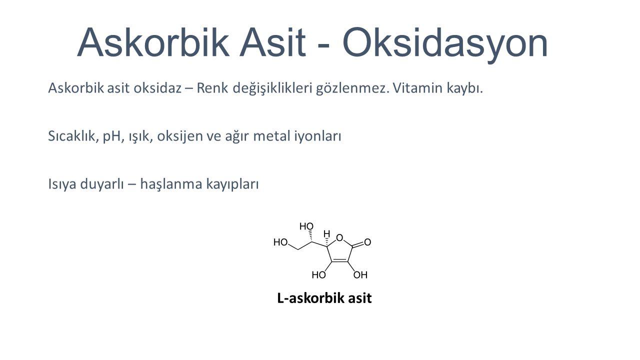 Diğer Oksidasyon Tepkimeleri Hermetik kutular ve kavanozlar – Yüzeyde oksidasyon Oksijen – Renk bozulmaları Laklanmamış kutular – Kalay – İndirgen Mantar konserveleri – Oksijen + Isı CO2, N2 – Oksijenin uzaklaştırılması Bitkisel kökenli oksidoredüktazlar – Lipoksigenaz