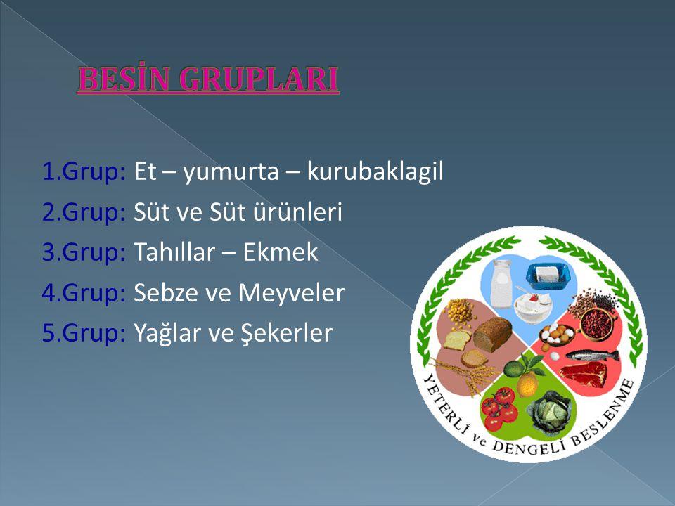 1.Grup: Et – yumurta – kurubaklagil 2.Grup: Süt ve Süt ürünleri 3.Grup: Tahıllar – Ekmek 4.Grup: Sebze ve Meyveler 5.Grup: Yağlar ve Şekerler