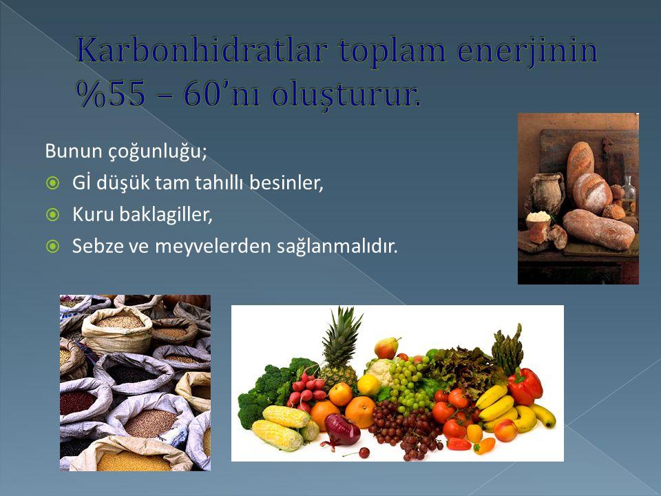 Bunun çoğunluğu;  Gİ düşük tam tahıllı besinler,  Kuru baklagiller,  Sebze ve meyvelerden sağlanmalıdır.