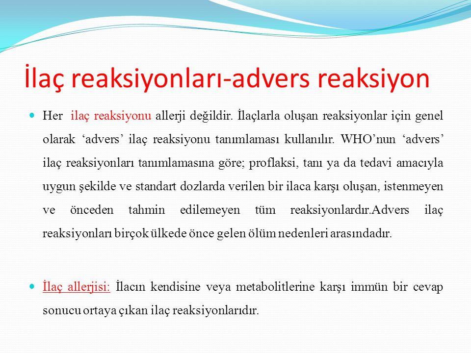 İlaç reaksiyonları-advers reaksiyon Her ilaç reaksiyonu allerji değildir. İlaçlarla oluşan reaksiyonlar için genel olarak 'advers' ilaç reaksiyonu tan