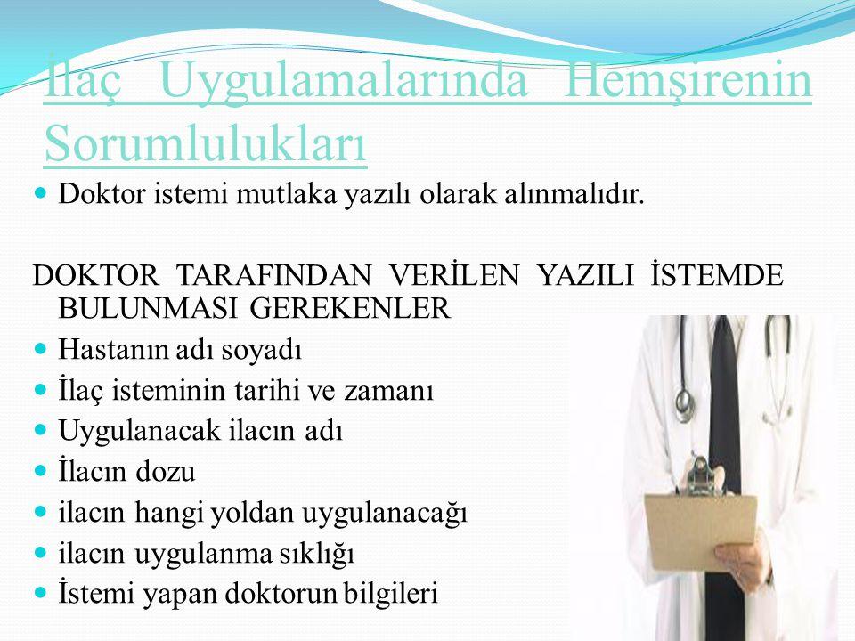 İlaç Uygulamalarında Hemşirenin Sorumlulukları Doktor istemi mutlaka yazılı olarak alınmalıdır. DOKTOR TARAFINDAN VERİLEN YAZILI İSTEMDE BULUNMASI GER