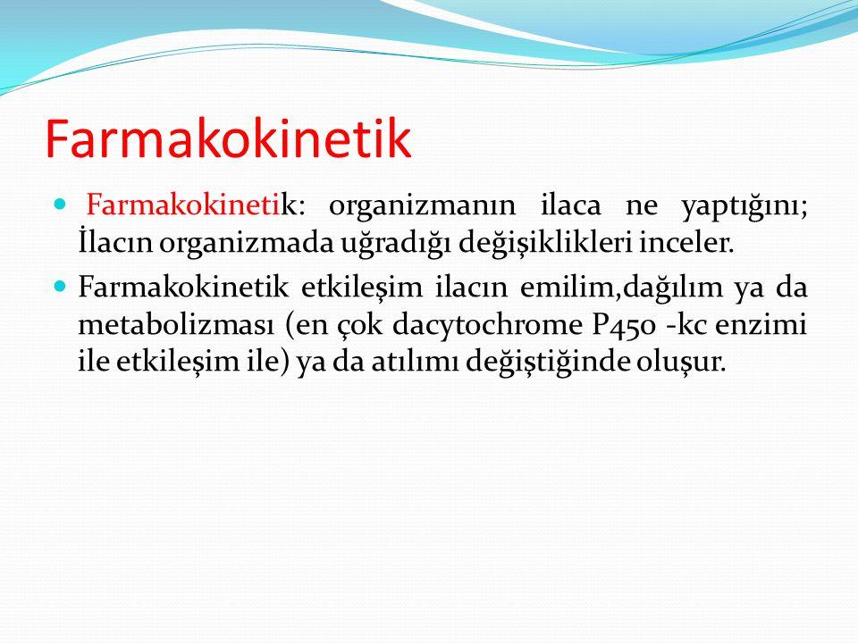 Farmakokinetik Farmakokinetik: organizmanın ilaca ne yaptığını; İlacın organizmada uğradığı değişiklikleri inceler. Farmakokinetik etkileşim ilacın em