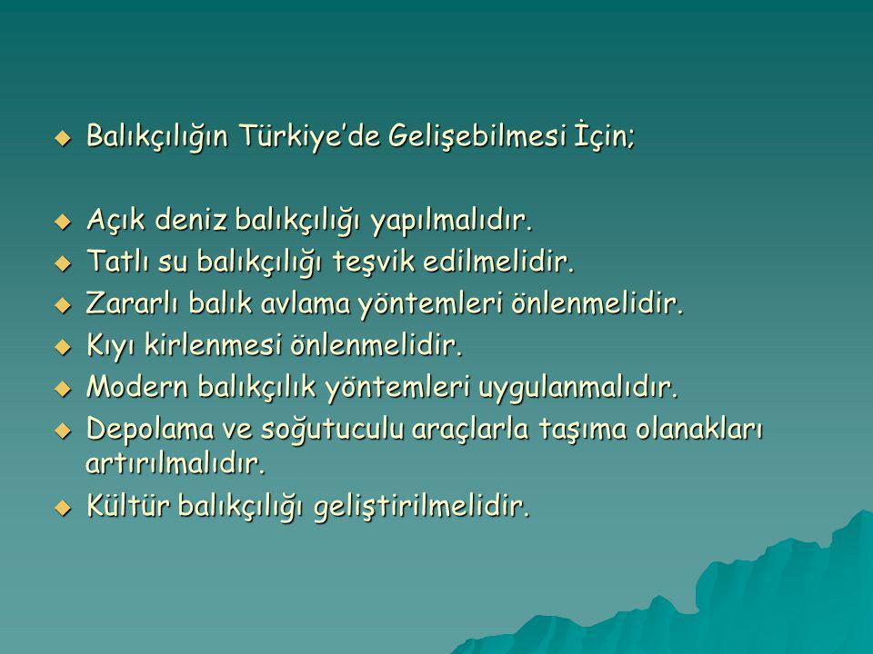  Balıkçılığın Türkiye'de Gelişebilmesi İçin;  Açık deniz balıkçılığı yapılmalıdır.