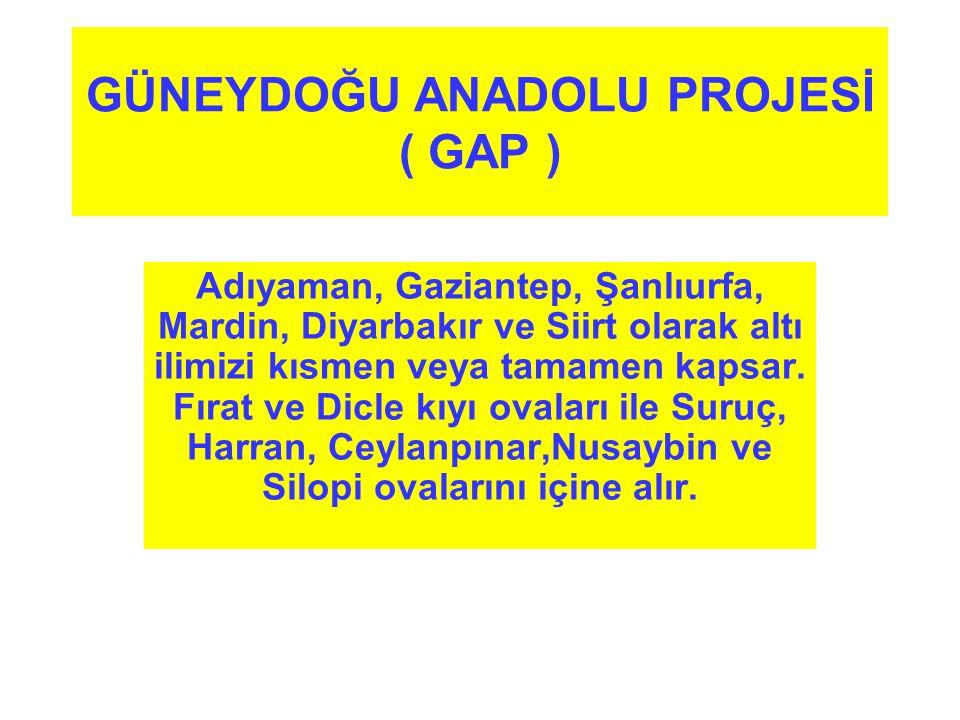 GÜNEYDOĞU ANADOLU PROJESİ ( GAP ) Adıyaman, Gaziantep, Şanlıurfa, Mardin, Diyarbakır ve Siirt olarak altı ilimizi kısmen veya tamamen kapsar. Fırat ve