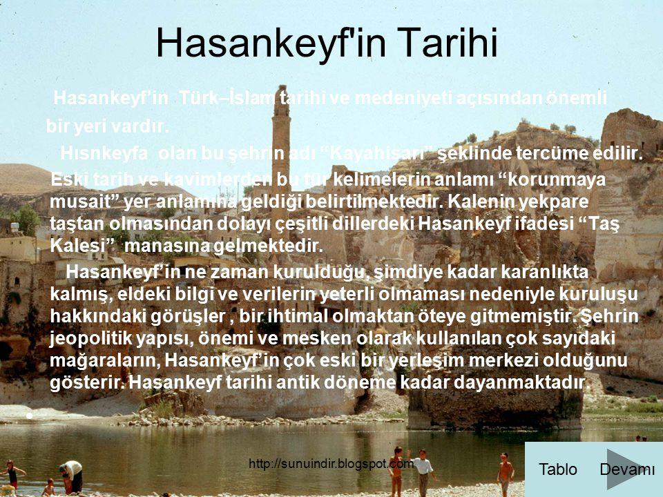 http://sunuindir.blogspot.com Hasankeyf'in Tarihi Hasankeyf'in Türk–İslam tarihi ve medeniyeti açısından önemli bir yeri vardır. Hısnkeyfa olan bu şeh