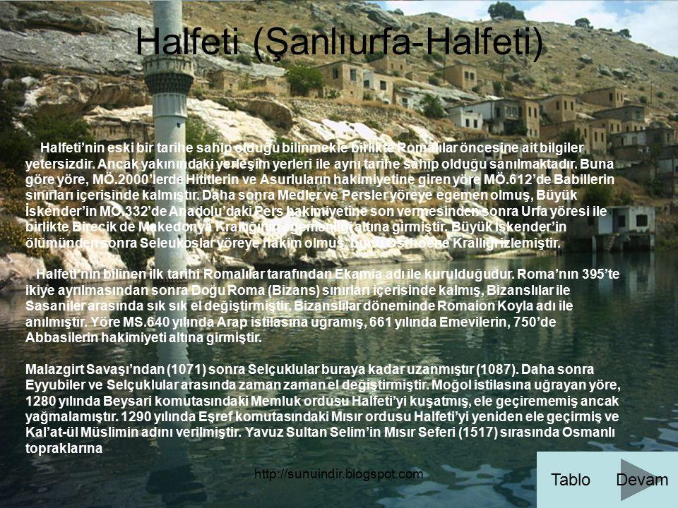 http://sunuindir.blogspot.com Halfeti (Şanlıurfa-Halfeti) Halfeti'nin eski bir tarihe sahip olduğu bilinmekle birlikte Romalılar öncesine ait bilgiler